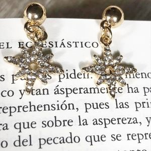 PAVE DROP STATEMENT GOLD EARRINGS